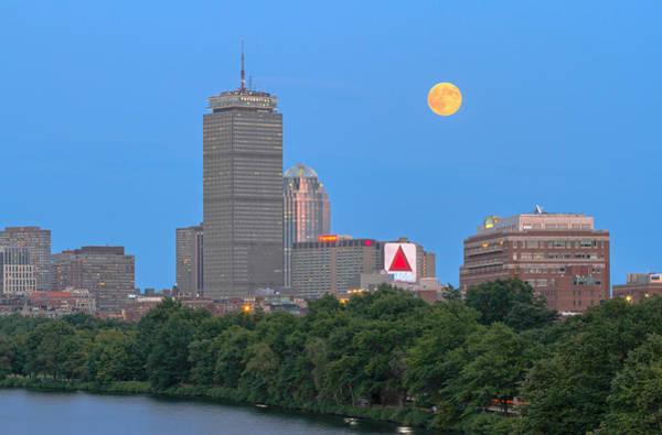 Wall Art - Photograph - Full Moon Across Boston Skyline by Juergen Roth