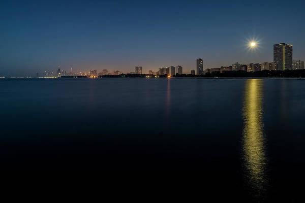 Photograph - Full Moon And Chicago Skyline by Sven Brogren