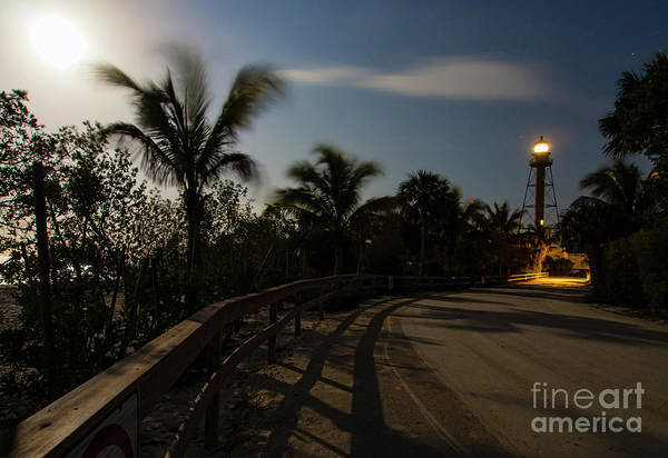 Photograph - Full Moon And Lighthouse, Sanibel Island, Florida  -260033 by John Bald