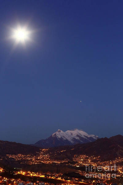 Photograph - Full Moon And Mars Above Mt Illimani La Paz Bolivia by James Brunker