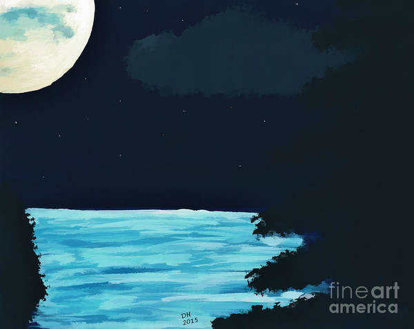 Painting - Full Moon At The Lake by D Hackett