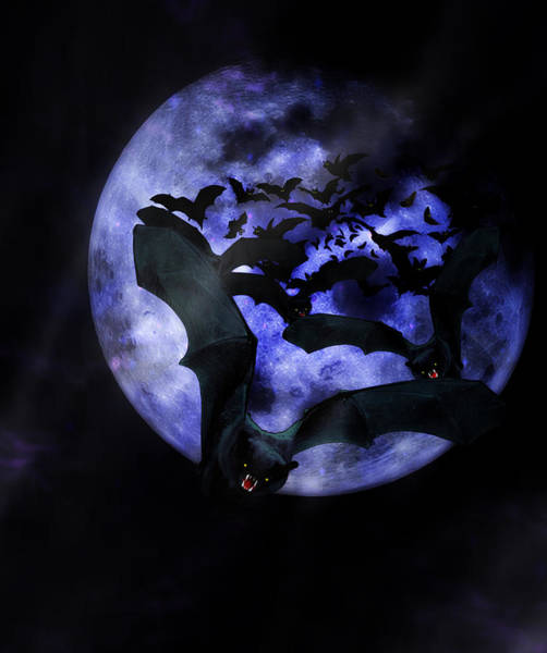 Full Moon Mixed Media - Full Moon Bats by Gravityx9  Designs