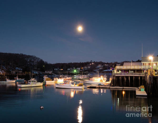 Photograph - Full Moon Before Dawn, New Harbor, Maine  -81337 by John Bald