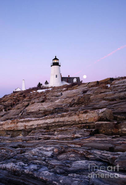 Photograph - Full Moon Before Sunrise, Pemaquid Light, New Harbor, Me  -81352 by John Bald