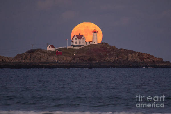 Moonrise Photograph - Full Moon Behind Nubble by Benjamin Williamson