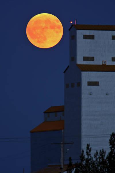 Prairie View Digital Art - Full Moon Behind Tuxford Grain Elevator by Mark Duffy