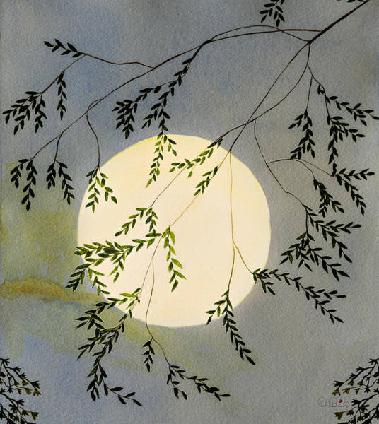 Moon And Tree Branch Painting Art Print