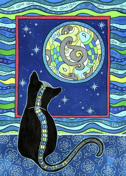 Pisces Cat Zodiac - Full Moon Art Print