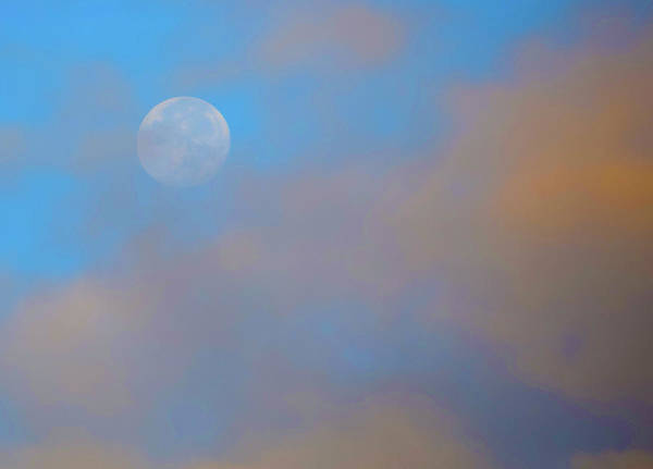 Photograph - Full Moon In Blue Sky With Red Clouds by Floyd Snyder