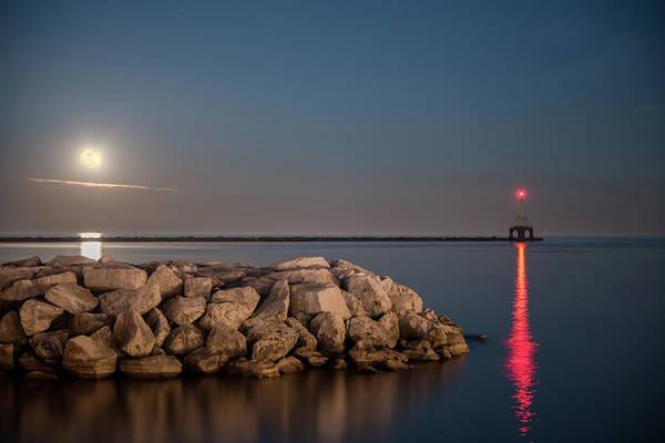 Full Moon In Port Art Print