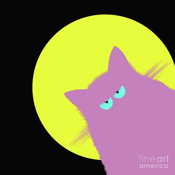 Wall Art - Digital Art - Full Moon Lilac Cat by Zaira Dzhaubaeva