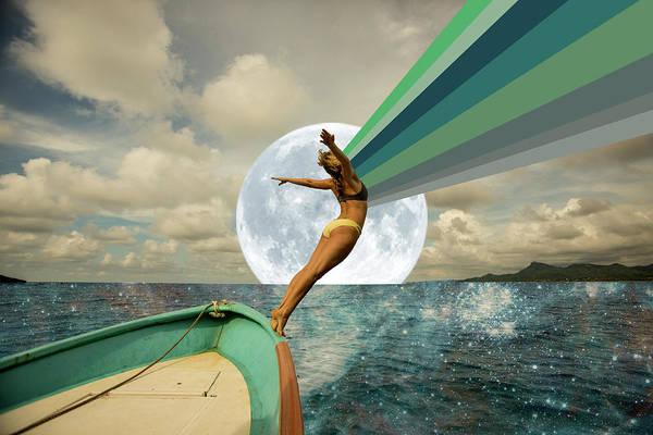 Energy Digital Art - Full Moon Ocean Energy by Lori Menna