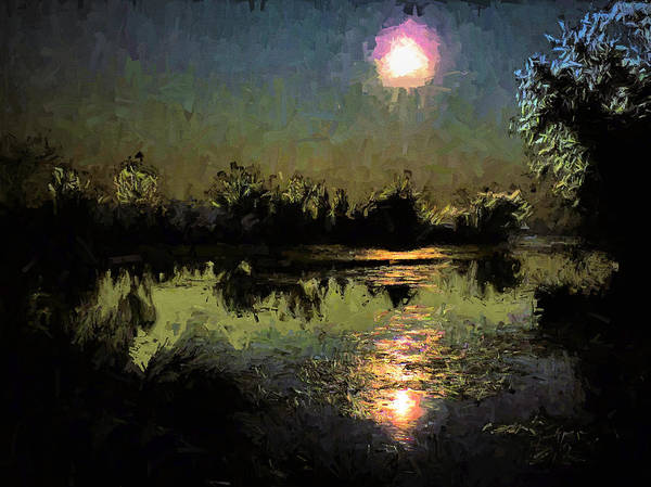 Photograph - Full Moon On The Bayou by JC Findley