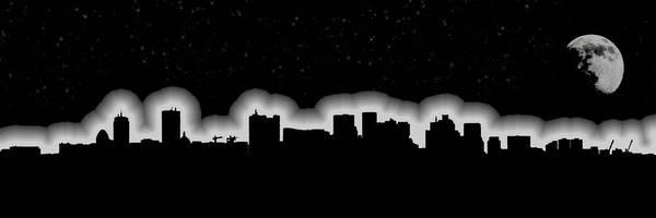 Photograph - Full Moon Over Boston Skyline Black And White by Joann Vitali