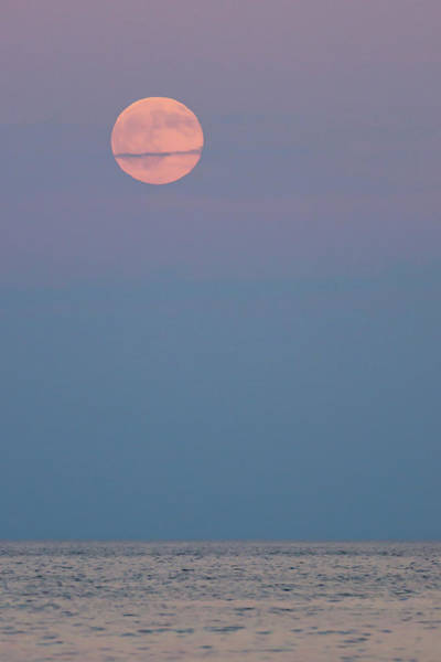 Photograph - Full Moon Over Calm Sea Lavallette Nj by Terry DeLuco