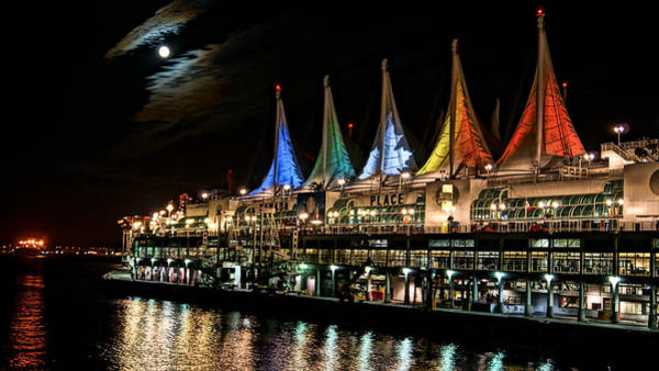 Photograph - Full Moon Over Canada Place by Cameron Wood