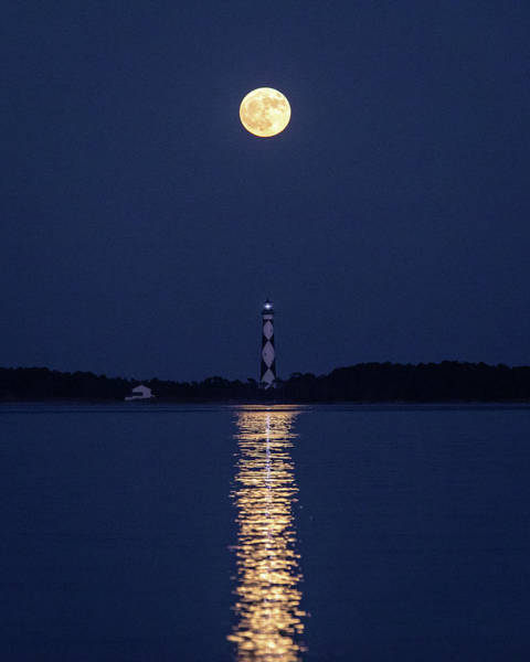 Photograph - Full Moon Over Cape Lookout Light by M C Hood