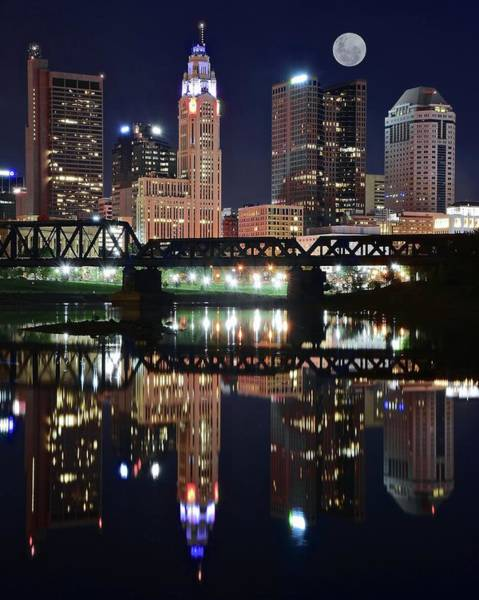 Scioto Photograph - Full Moon Over Columbus Ohio by Frozen in Time Fine Art Photography