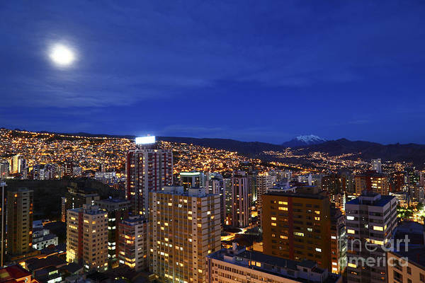 Photograph - Full Moon Over Downtown La Paz Bolivia by James Brunker