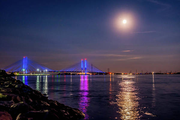 Delaware State Park Wall Art - Photograph - Full Moon Over Indian River Inlet by Jodi Lyn Jones