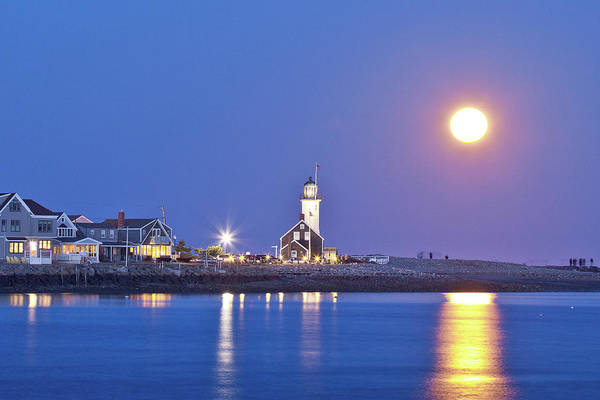Wall Art - Photograph - Full Moon Over Scituate Light by Susan Cole Kelly