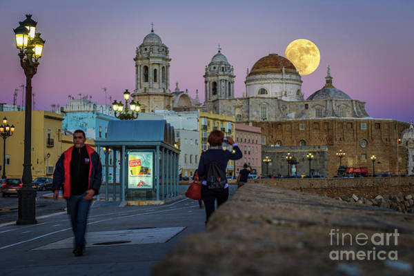 Photograph - Full Moon Over The Cathedral Cadiz Spain by Pablo Avanzini