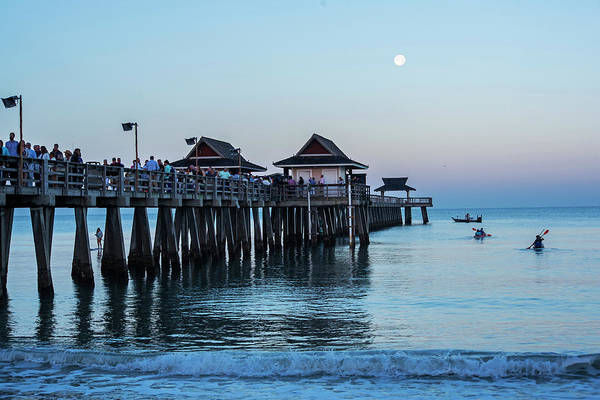 Photograph - Full Moon Over The Naples Pier At Sunrise Naples Florida by Toby McGuire