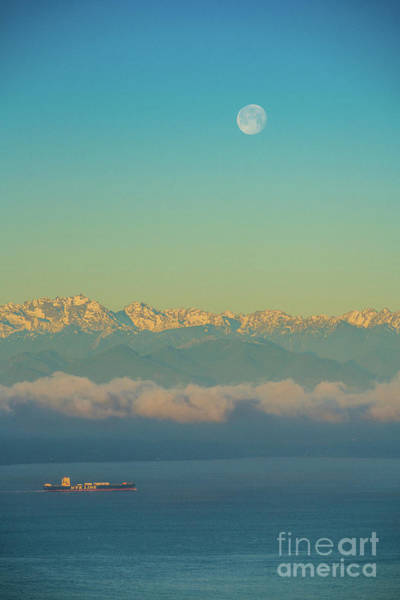 Wall Art - Photograph - Full Moon Over The Olympics At Sunrise by Mike Reid