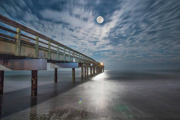 Matanzas Inlet Wall Art - Photograph - Full Moon Over The Pier by Robin Anderson