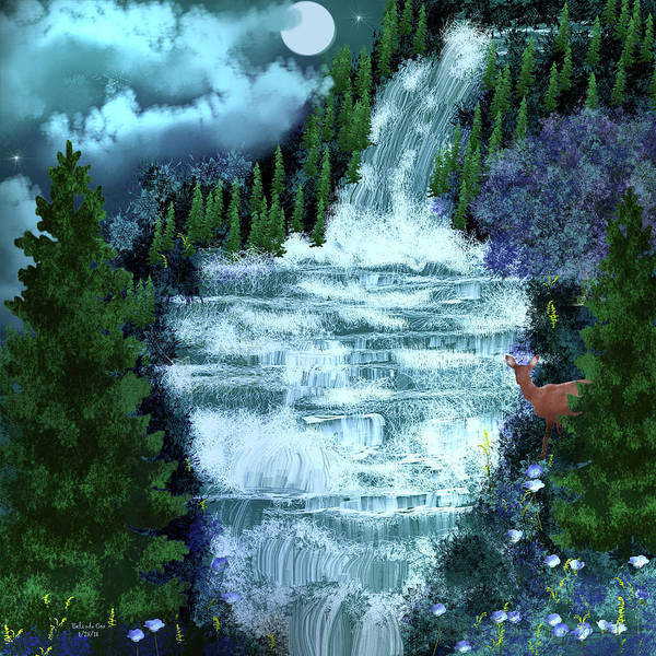 Digital Art - Full Moon Over The Waterfall by Artful Oasis