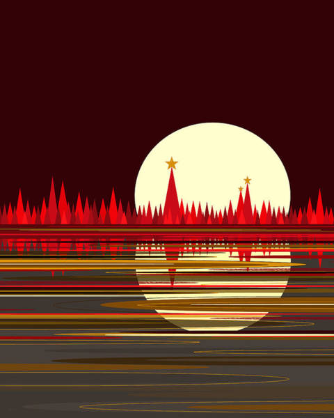 Digital Art - Full Moon - Red Reflections  by Val Arie