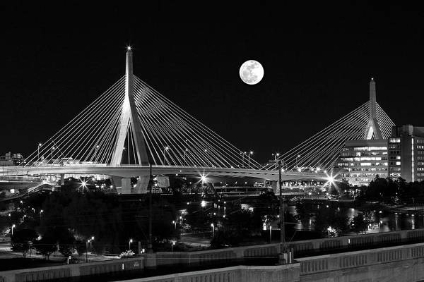 Photograph - Full Moon Rising Over Boston Zakim Bridge by Juergen Roth
