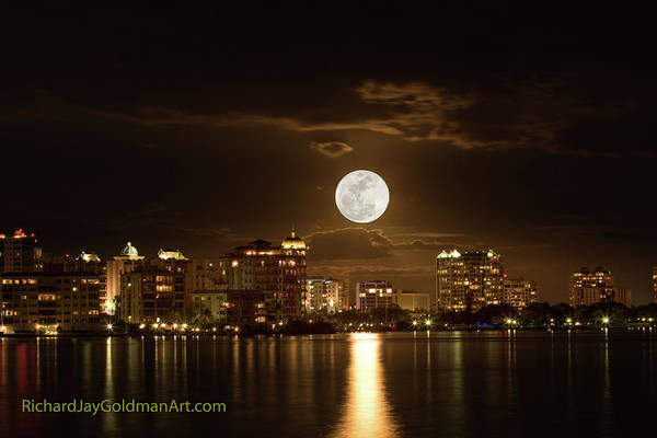 Photograph - Full Moon Rising Over Sarasota by Richard Goldman