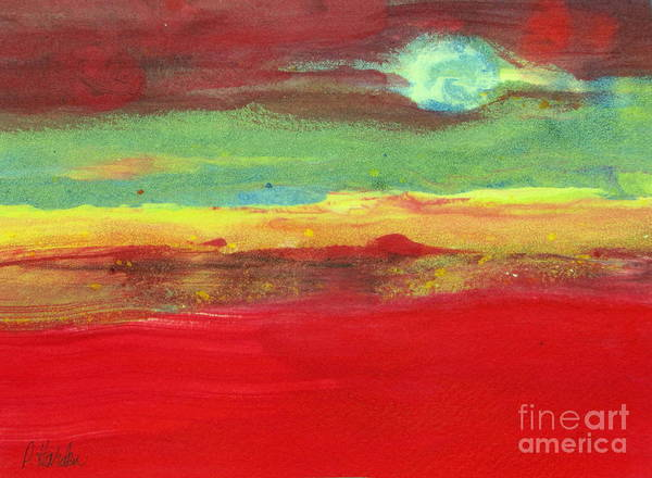Monotype Mixed Media - Full Moon Rising by Pamela Iris Harden