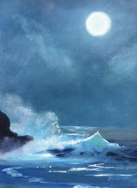 Painting - Full Moon Seascape by Janet Biondi