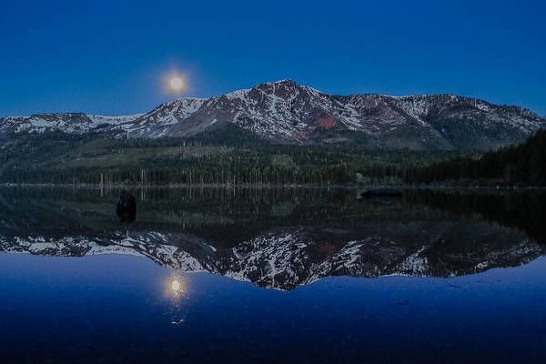 Herron Photograph - Full Moon Set Over Fallen Leaf Lake by Mike  Herron