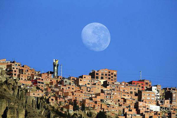 Photograph - Full Moon Setting Over El Alto Bolivia by James Brunker