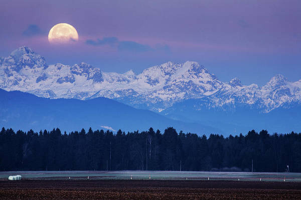 Wall Art - Photograph - Full Moon Setting Over The Julian Alps by Ian Middleton