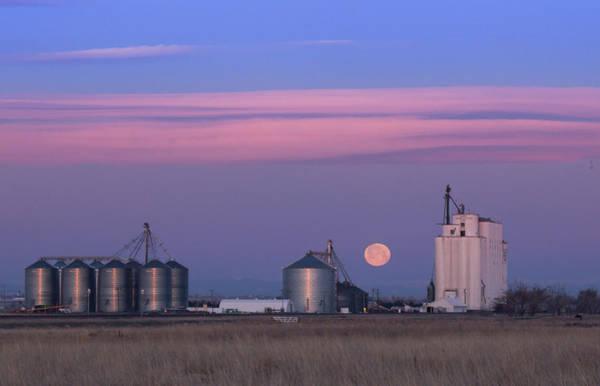 Wall Art - Photograph - Full Moon Sunrise Roggen Farmers Elevator by Bridget Calip