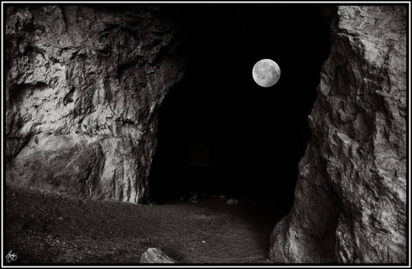 Photograph - Full Moon Through The Mouth Of A Cave by Wayne King