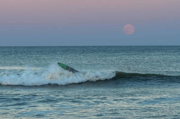 Wall Art - Photograph - Full Moon Wipe Out Seaside Nj by Terry DeLuco