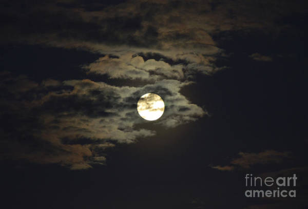 Photograph - Full Moon With Clouds Number 18 by Christopher Shellhammer