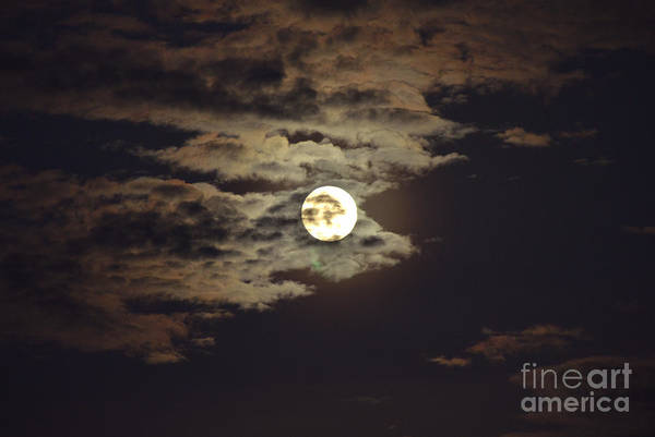 Photograph - Full Moon With Clouds Number 19 by Christopher Shellhammer