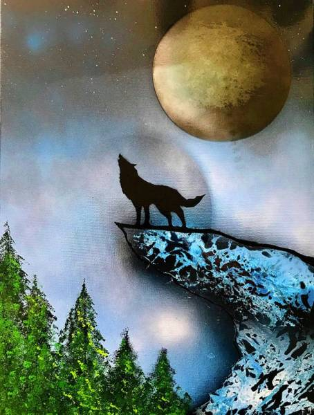Wall Art - Painting - Full Moon Wolf by Willy Proctor
