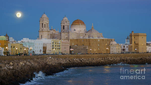 Photograph - Full Moonrise Over The Cathedral Cadiz Spain by Pablo Avanzini