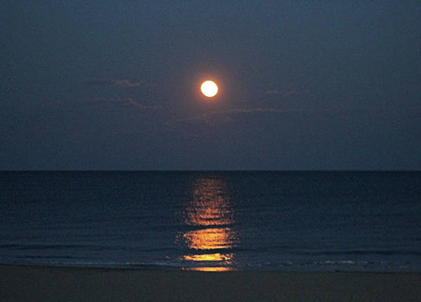 Photograph - Full Moon's Glow On The Atlantic by Robert Banach