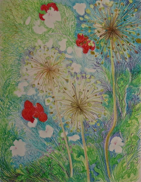Red Poppy Mixed Media - Full Summer Garden by Bonnie See