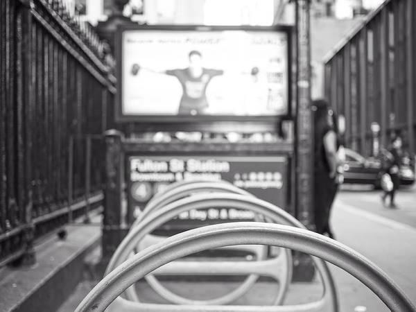 Bicycle Rack Photograph - Fulton St Station by Jon Woodhams