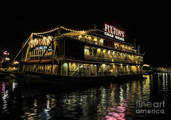 Photograph - Fulton's Crab House Night Lights by Gary Keesler