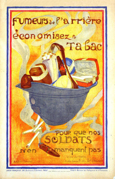 Wall Art - Mixed Media - Fumeurs De L'arriere Economisez Le Tabac - Soldiers' Helmet Filled With Tobacco - Vintage Poster by Studio Grafiikka